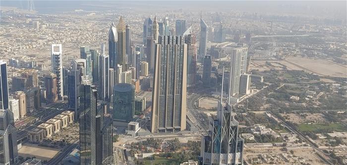 부르즈 칼리파 124층 전망대에서 바라본 두바이 전경